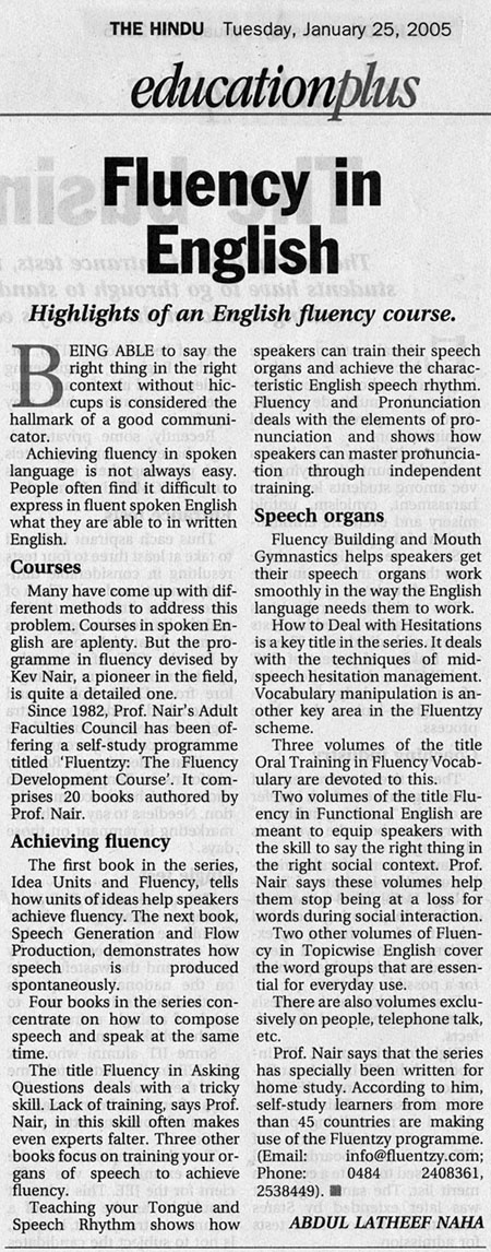 Fluency News Article THE HINDU