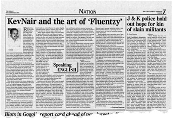 Scan of an article in The New INdian Express about Prof Kev Nair and his work on English fluency building